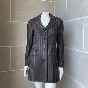 Laurél Escada Wool Pinstripe Pea Coat